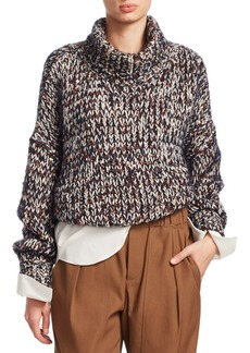 Brunello Cucinelli Marled-Knit Cropped Turtleneck Sweater