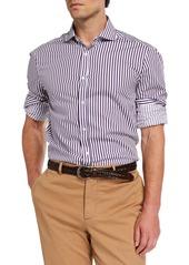Brunello Cucinelli Men's Basic-Fit Bengal Striped Sport Shirt