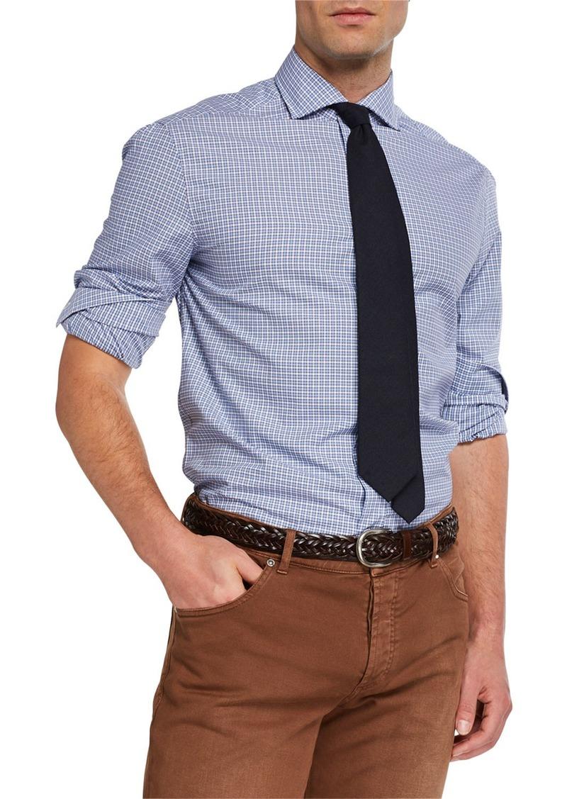 Brunello Cucinelli Men's Basic Fit Check Sport Shirt