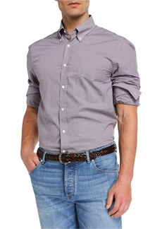 Brunello Cucinelli Men's Basic Fit Mini-Check Sport Shirt