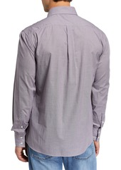 Brunello Cucinelli Men's Basic Fit Mini-Check Sport Shirt