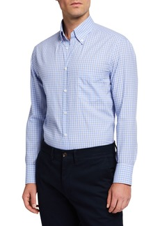 Brunello Cucinelli Men's Basic Plaid  Sport Shirt with Button-Down Collar
