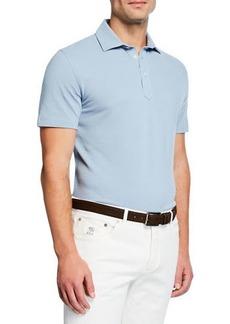 Brunello Cucinelli Men's Basic Spread-Collar Pique Polo Shirt