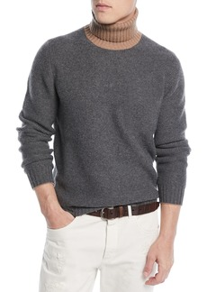 Brunello Cucinelli Men's Bicolor Wool-Blend Turtleneck Sweater
