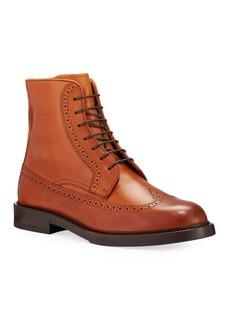 Brunello Cucinelli Men's Brogue Leather Derby Boots