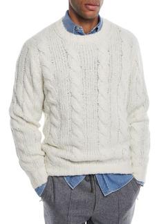 Brunello Cucinelli Men's Cable-Knit Crewneck Sweater