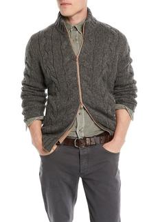 Brunello Cucinelli Men's Cable-Knit Full-Zip Cardigan Sweater