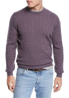 Brunello Cucinelli Men's Cashmere Cable-Knit Crewneck Sweater