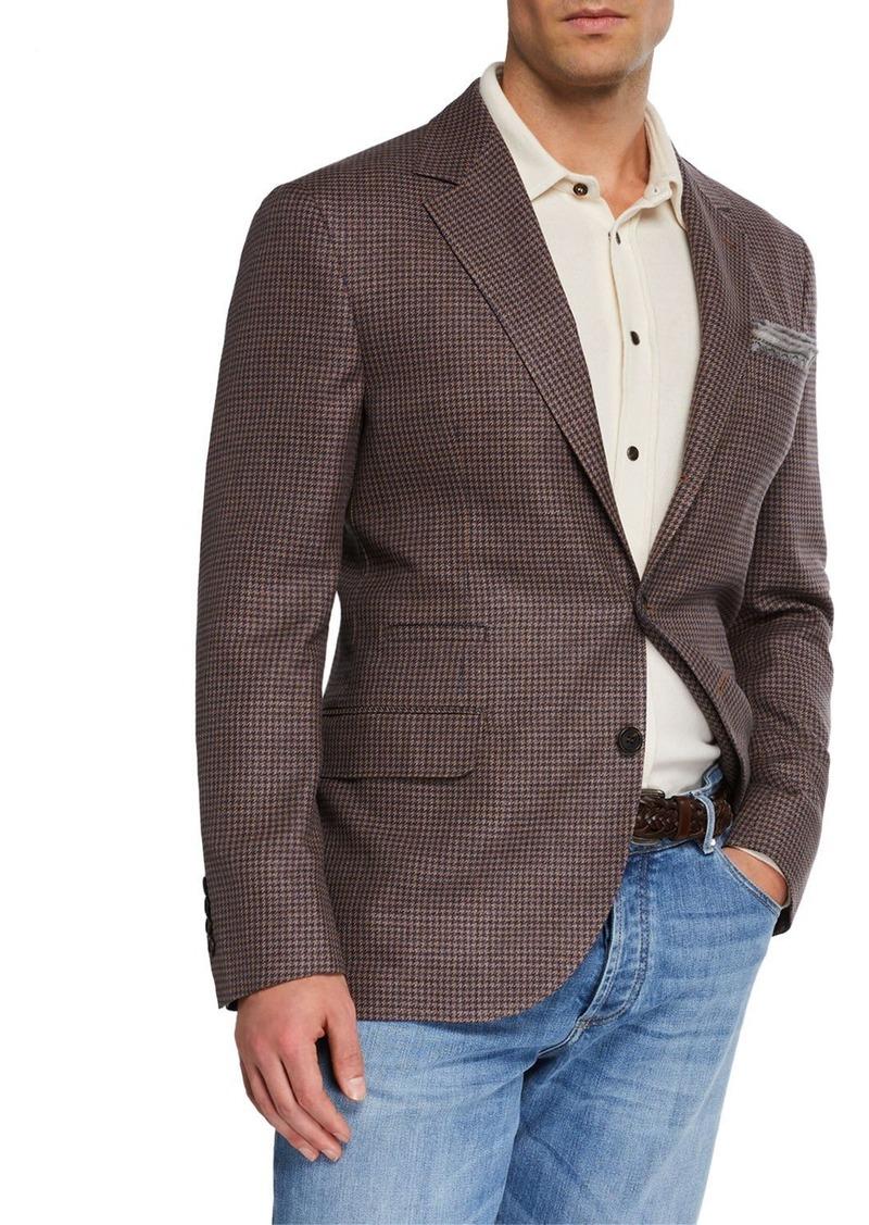 Brunello Cucinelli Men's Check Wool-Blend Two-Button Jacket
