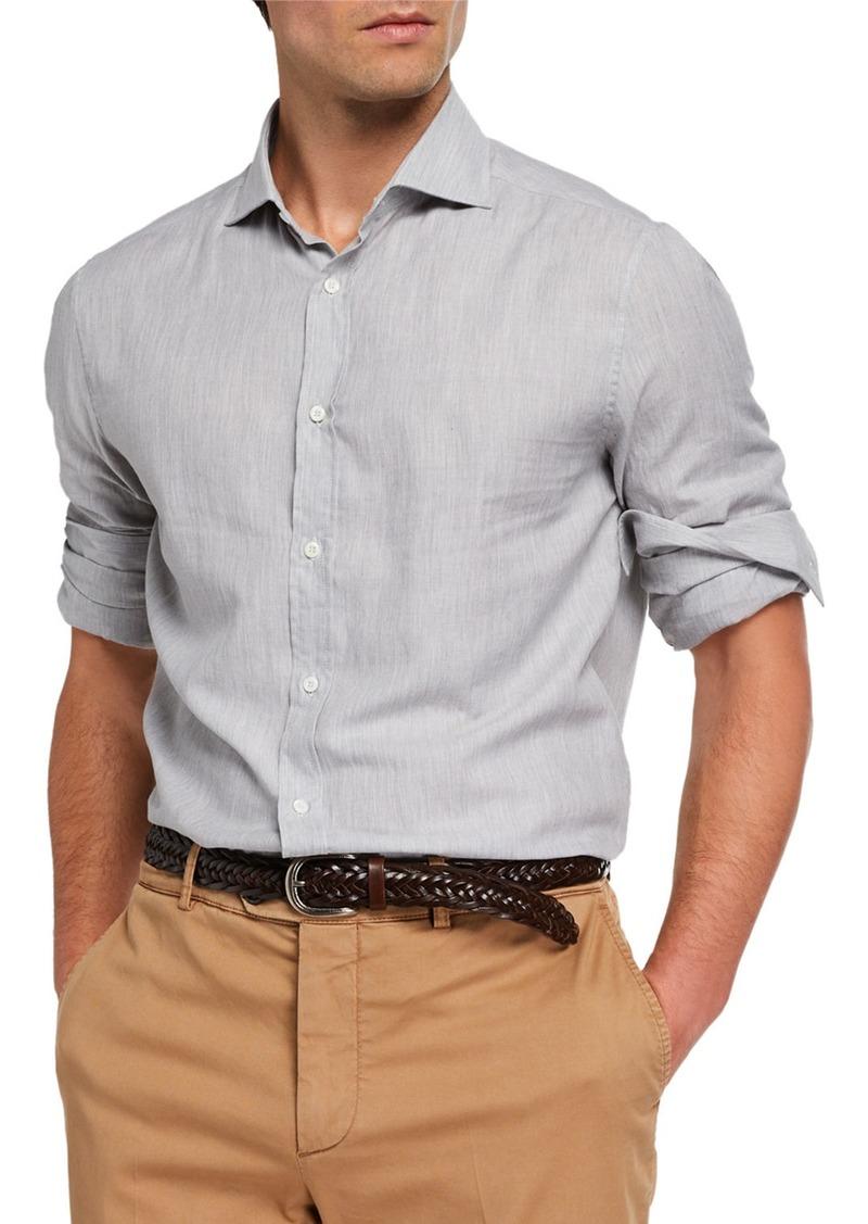 Brunello Cucinelli Men's Chevron Sport Shirt