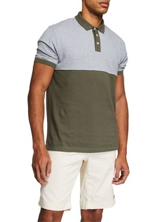 Brunello Cucinelli Men's Colorblock Short-Sleeve Polo Shirt