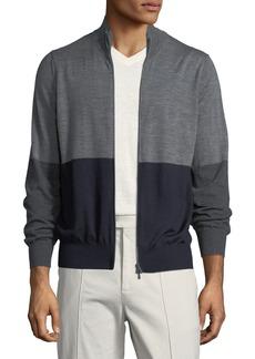 Brunello Cucinelli Men's Colorblock Zip-Front Wool Sweater