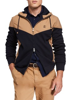 Brunello Cucinelli Men's Colorblock Zip-Up Hoodie Jacket