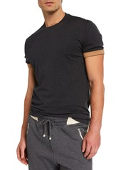 Brunello Cucinelli Men's Contrast-Cuff Crewneck T-Shirt