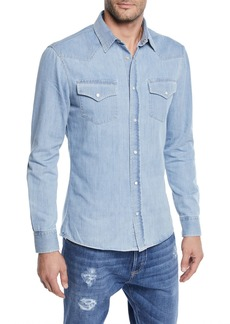 Brunello Cucinelli Men's Denim Western Shirt
