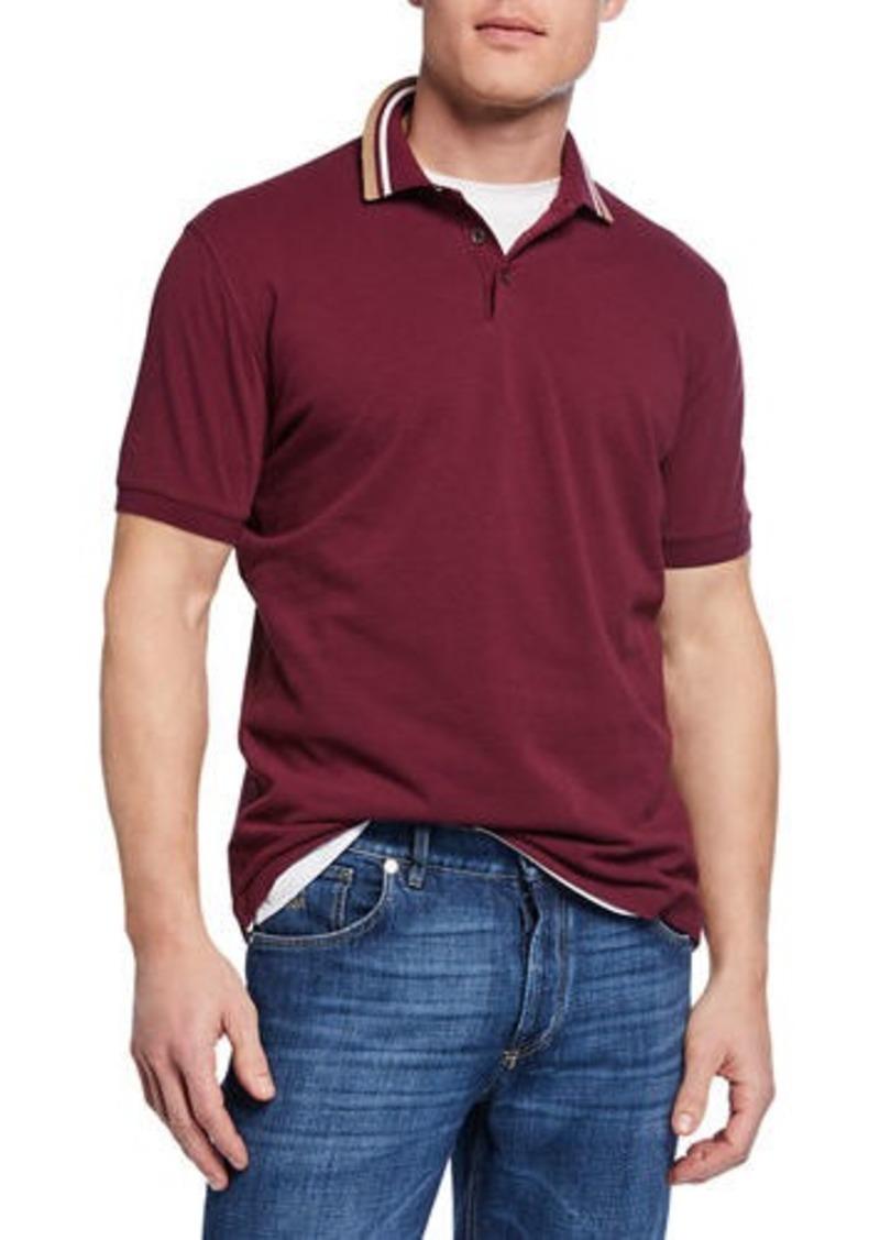 Brunello Cucinelli Men's Double Stripe Short-Sleeve Polo Shirt