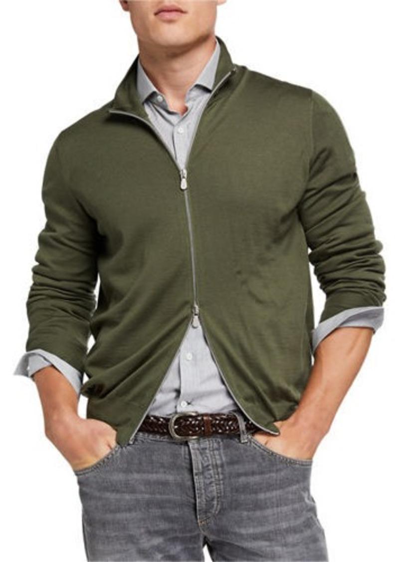 Brunello Cucinelli Men's Fine-Gauge Zip-Front Sweater