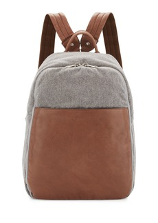 Brunello Cucinelli Men's Leather & Wool-Cashmere Tech Backpack  Tan/Gray