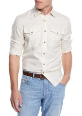 Brunello Cucinelli Men's Leisure-Fit Safari Woven Shirt