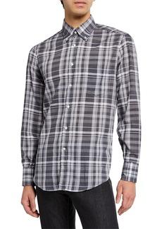 Brunello Cucinelli Men's Madras Plaid Sport Shirt