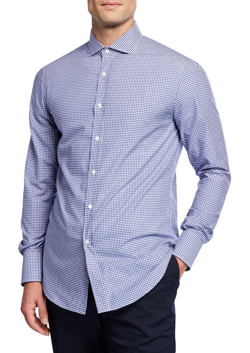 Brunello Cucinelli Men's Microcheck Woven Sport Shirt