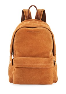 Brunello Cucinelli Men's Pebbled Leather Backpack