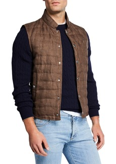 Brunello Cucinelli Men's Quilted Snap-Front Vest