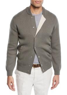 Brunello Cucinelli Men's Reversible Baseball Bomber Sweater