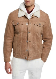 Brunello Cucinelli Men's Shearling Fur-Lined Leather Trucker Jacket