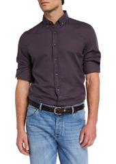 Brunello Cucinelli Men's Solid Cotton Contrast-Button Sport Shirt
