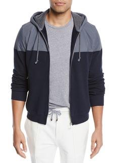 Brunello Cucinelli Men's Spa Colorblock Cotton-Stretch Hoodie Sweatshirt