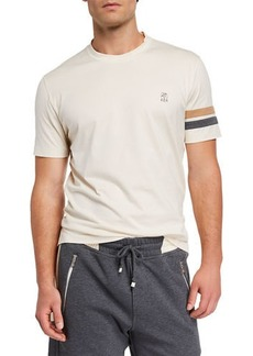 Brunello Cucinelli Men's Striped-Armband T-Shirt