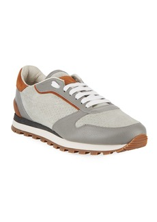 Brunello Cucinelli Men's Suede & Leather Trainer Sneakers