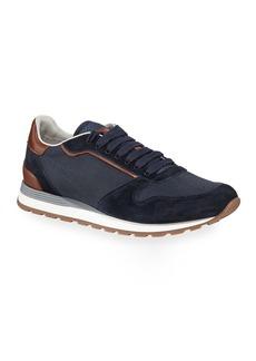 Brunello Cucinelli Men's Suede & Mesh Runner Sneakers