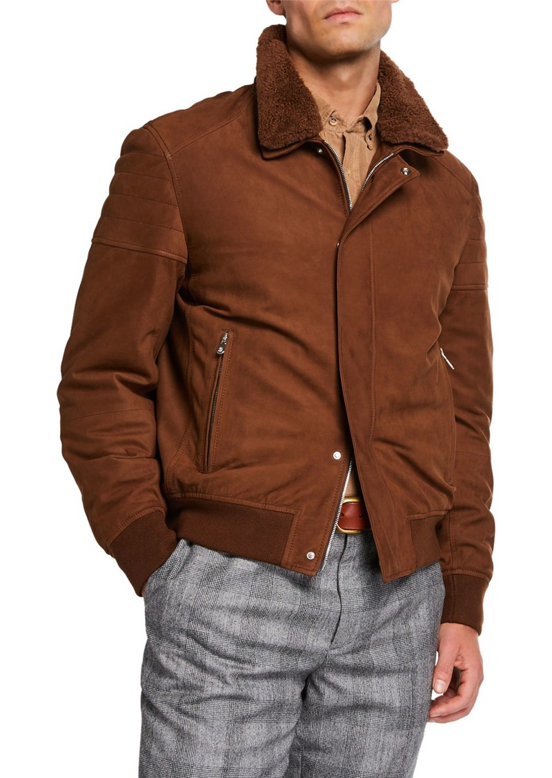 Brunello Cucinelli Men's Suede Moto Jacket with Shearling Collar