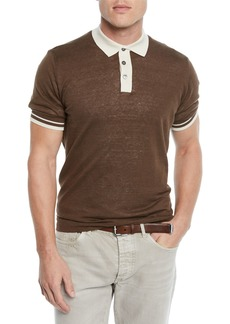 Brunello Cucinelli Men's Tipped Linen/Cotton Polo Shirt