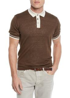 Brunello Cucinelli Men's Tipped Linen/Cotton Polo Shirt