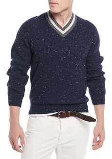 Brunello Cucinelli Men's Varsity Stripe Donegal Sweater