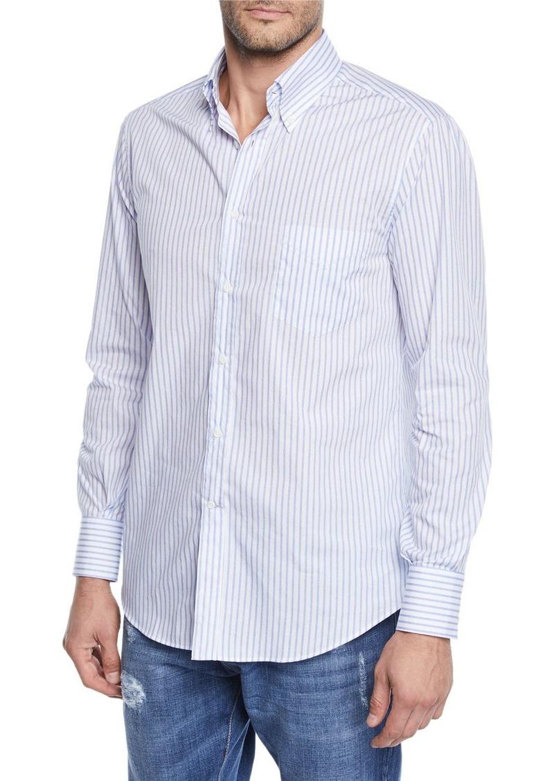 Brunello Cucinelli Men's Washed Stripe Sport Shirt