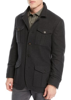 Brunello Cucinelli Men's Wool/Cashmere Safari Jacket