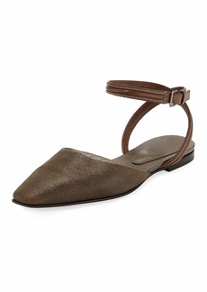 Brunello Cucinelli Metallic Ankle-Wrap Mules