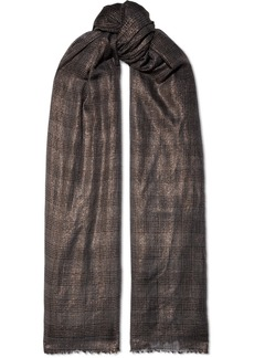 Brunello Cucinelli Metallic Checked Cashmere-blend Scarf