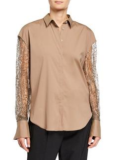 Brunello Cucinelli Metallic Lace-Sleeve Button-Down Shirt