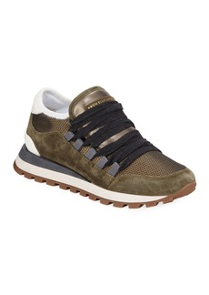 Brunello Cucinelli Metallic Lace-Up Suede Trainer Sneakers
