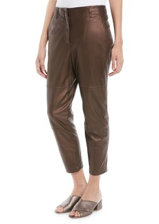 Brunello Cucinelli Metallic-Leather Cropped Straight-Leg Pants