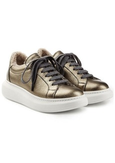 Brunello Cucinelli Metallic Leather Platform Sneakers with Sheepskin
