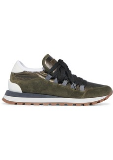 Brunello Cucinelli Metallic Mesh, Leather And Suede Sneakers