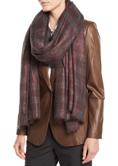 Brunello Cucinelli Metallic-Plaid Cashmere-Blend Scarf