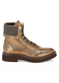 Brunello Cucinelli Metallic Textured Leather Combat Boots