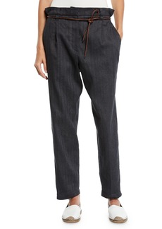 Brunello Cucinelli Mid-Rise Cotton-Linen Chevron Straight-Leg Pants